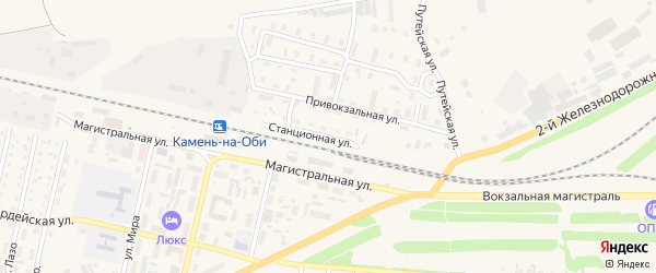 Станционная улица на карте Камня-на-Оби с номерами домов