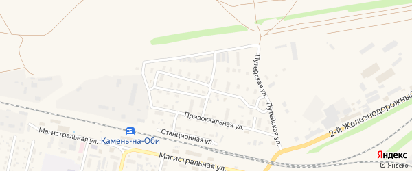 Железнодорожная улица на карте Камня-на-Оби с номерами домов