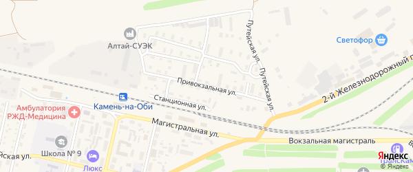 Привокзальная улица на карте Камня-на-Оби с номерами домов