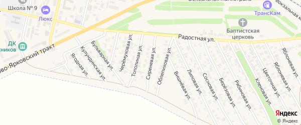Сиреневая улица на карте Камня-на-Оби с номерами домов