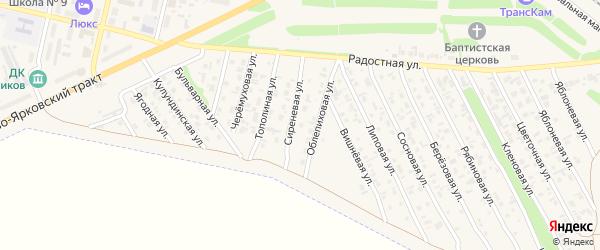 Сиреневая улица на карте садового некоммерческого товарищества N 7 с номерами домов