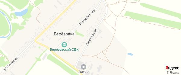 Советская улица на карте поселка Березовки с номерами домов
