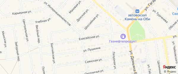 Енисейская улица на карте Камня-на-Оби с номерами домов