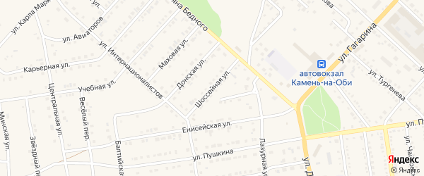 Шоссейная улица на карте Камня-на-Оби с номерами домов