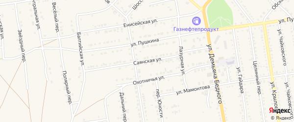 Саянская улица на карте Камня-на-Оби с номерами домов
