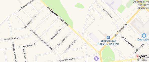 Улица Д.Бедного на карте Камня-на-Оби с номерами домов
