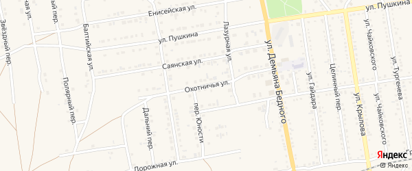 Охотничья улица на карте Камня-на-Оби с номерами домов