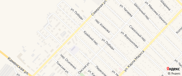 Крайний переулок на карте Камня-на-Оби с номерами домов