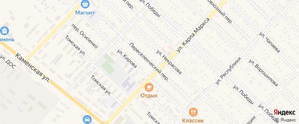 Переселенческий переулок на карте Камня-на-Оби с номерами домов