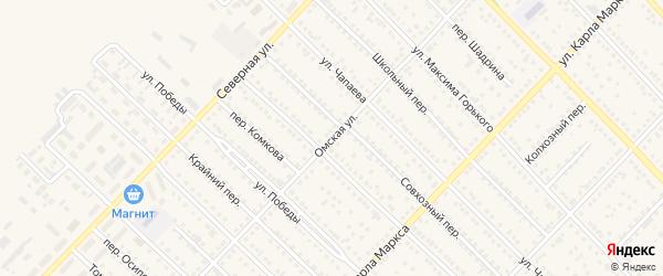 Омская улица на карте Камня-на-Оби с номерами домов