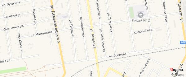 Улица Крылова на карте Камня-на-Оби с номерами домов