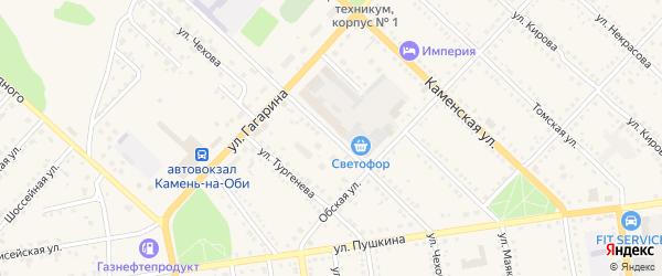Улица Чехова на карте Камня-на-Оби с номерами домов