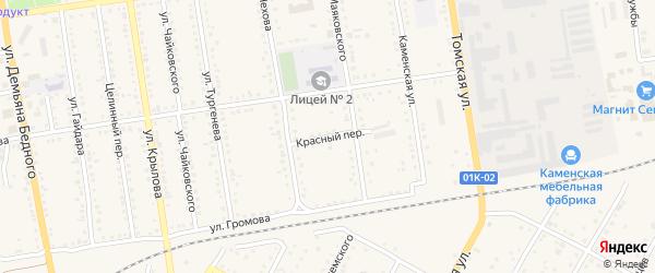 Красный переулок на карте Камня-на-Оби с номерами домов