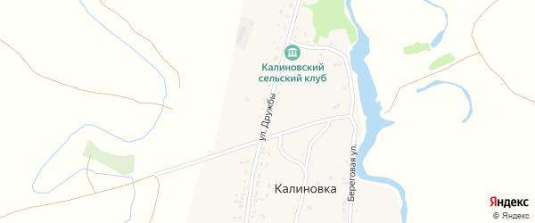 Улица Дружбы на карте поселка Калиновки с номерами домов