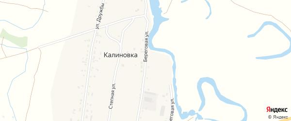 Береговая улица на карте поселка Калиновки с номерами домов