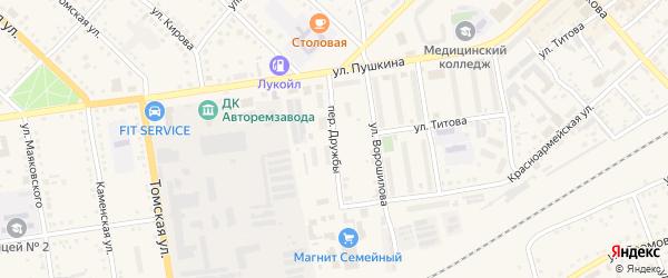 Переулок Дружбы на карте Камня-на-Оби с номерами домов