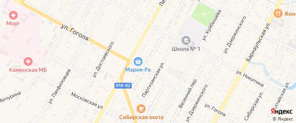 Пионерский переулок на карте Камня-на-Оби с номерами домов