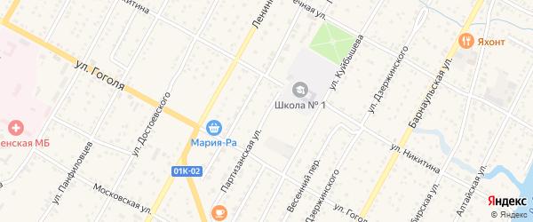 Партизанская улица на карте Камня-на-Оби с номерами домов