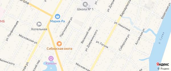 Весенний переулок на карте Камня-на-Оби с номерами домов