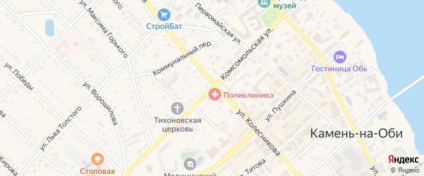 Комсомольская улица на карте Камня-на-Оби с номерами домов