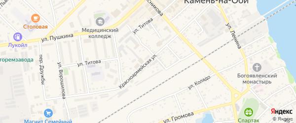 Красноармейская улица на карте Камня-на-Оби с номерами домов
