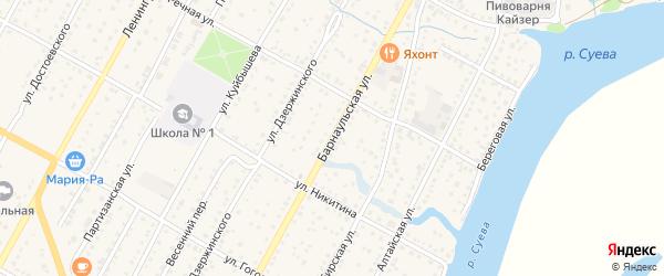 Барнаульская улица на карте Камня-на-Оби с номерами домов