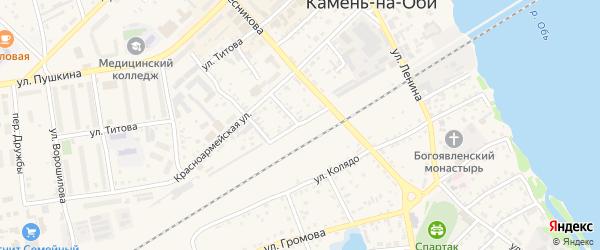 Улица З.Космодемьянской на карте Камня-на-Оби с номерами домов