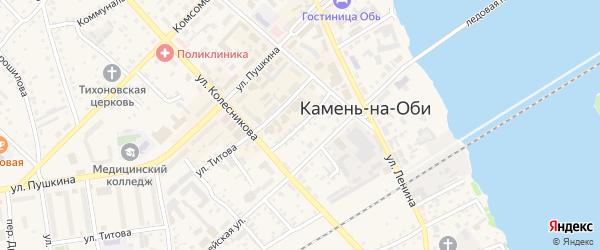 Театральный переулок на карте Камня-на-Оби с номерами домов