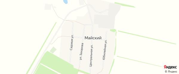 Карта Майского поселка в Алтайском крае с улицами и номерами домов