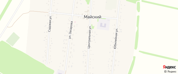 Центральная улица на карте Майского поселка с номерами домов