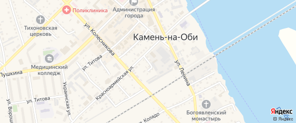 Зеленый переулок на карте Камня-на-Оби с номерами домов