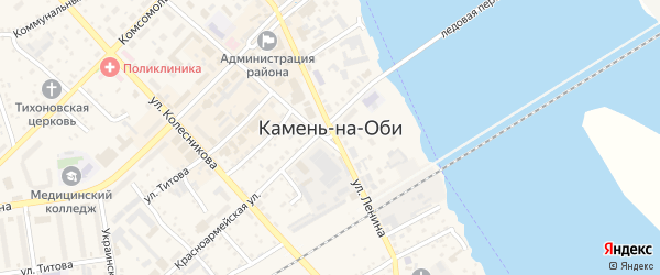 Переулок Запотоцкого на карте Камня-на-Оби с номерами домов