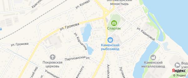 Озерный переулок на карте Камня-на-Оби с номерами домов