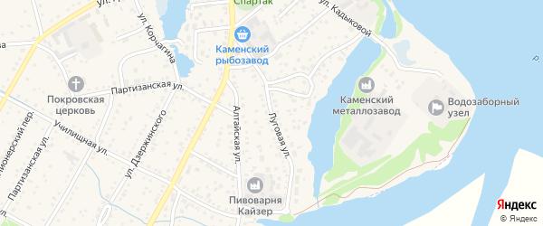 Луговая улица на карте Подветренно-Телеутского села с номерами домов