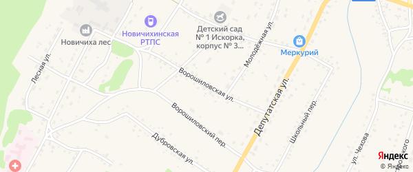 Ворошиловская улица на карте села Новичихи с номерами домов