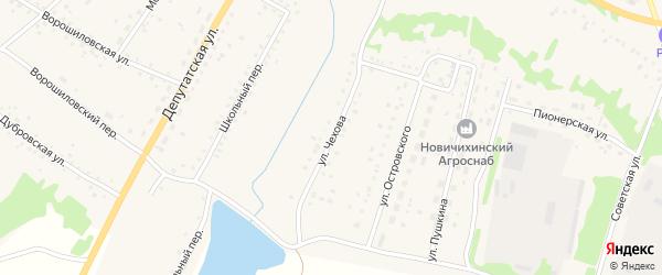 Улица Чехова на карте села Новичихи с номерами домов