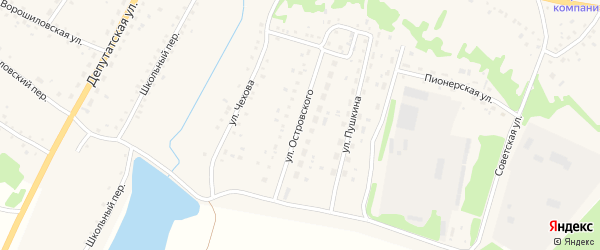 Улица Островского на карте села Новичихи с номерами домов