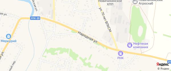 Народная улица на карте села Новичихи с номерами домов