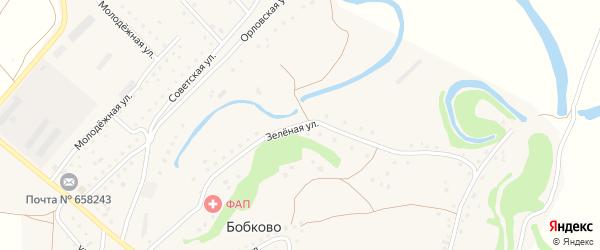Зеленая улица на карте села Бобково с номерами домов