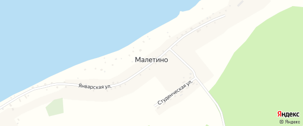 Студенческая улица на карте села Малетино с номерами домов