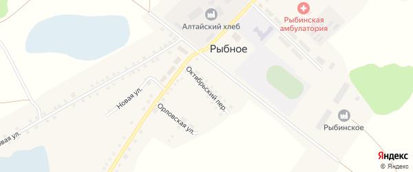 Октябрьский переулок на карте Рыбного села с номерами домов