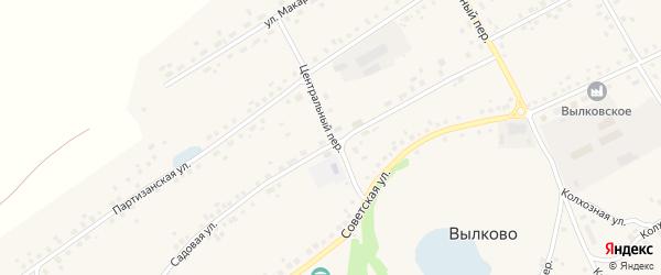 Центральный переулок на карте села Вылково с номерами домов
