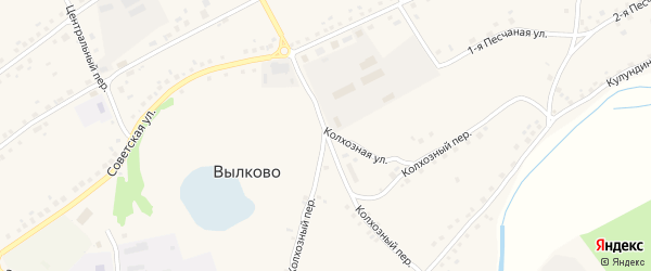 Колхозный переулок на карте села Вылково с номерами домов