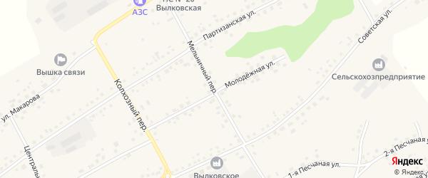 Мельничный переулок на карте села Вылково с номерами домов