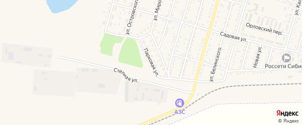 Парковая улица на карте Горняка с номерами домов