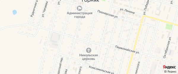 Улица Островского на карте Горняка с номерами домов