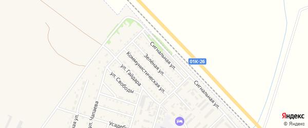 Зеленая улица на карте Горняка с номерами домов