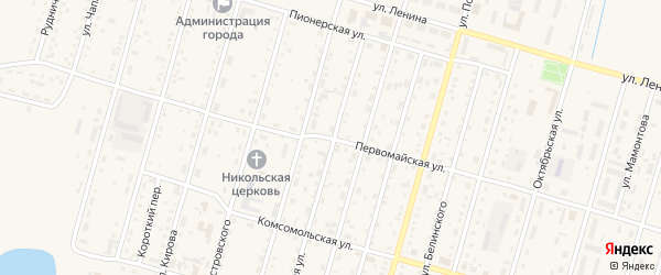 Первомайская улица на карте Горняка с номерами домов