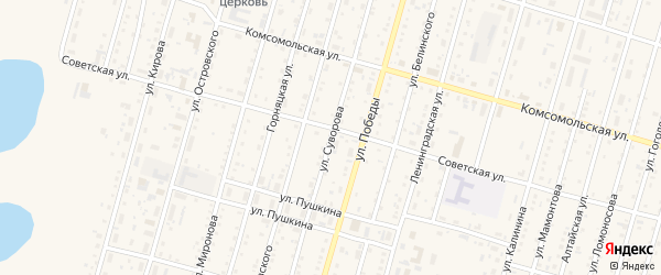 Улица Суворова на карте Горняка с номерами домов