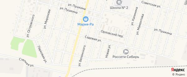 Садовая улица на карте Горняка с номерами домов